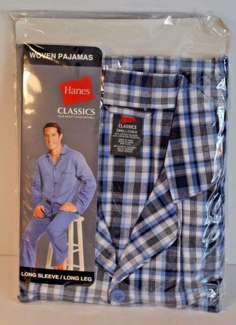 Hanes Men/'s 2-Piece Long Sleeve Top And Pants Woven Plaid Pajama Set L XL 2XL
