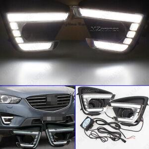 For Mazda CX-5 CX5 2012-2016 LED Daytime Running Light Fog Lamp Turn Signal DRL