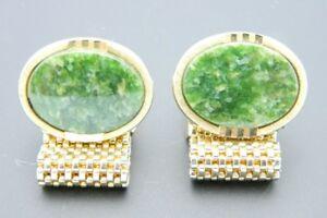 Green-Faux-Jade-Round-Stone-Gold-Tone-Metal-Mesh-Cufflinks-Vintage