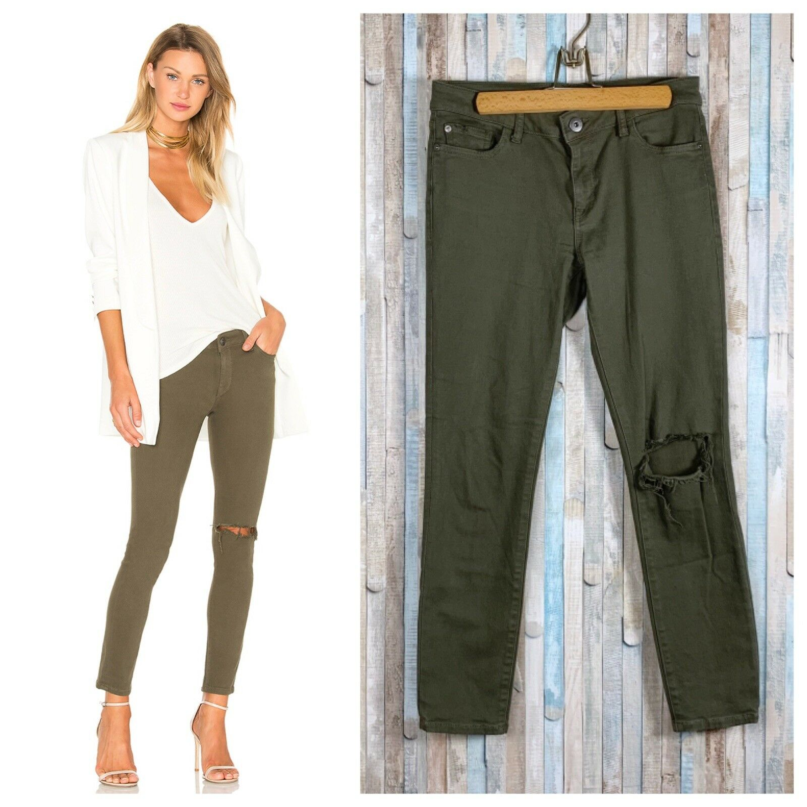 DL1961 28 Basin Olive Wash Skinny Stretch Ripped Margaux Instasculpt Jeans
