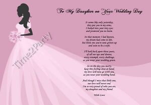 A4 Poem From Mum to Daughter on Her Wedding Day - Mother to Daughter ...