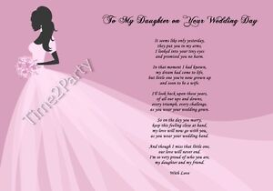 A4 Poem From Mum To Daughter On Her Wedding Day Mother