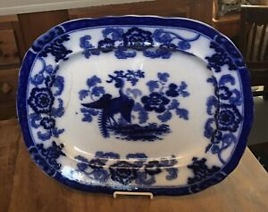 Antique-Ironstone-PLATTER-FLOWBLUE-TRANSFERWARE-Staffordshire-034-Heron-034-by-C-Meigh