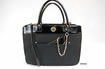 $108 Tommy Hilfiger Couplet womens canvas faux patent leather tote handbag