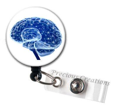 Blue Electric Brain Art RN ID Badge Reel Holder Clip Holder Retractable Nurse