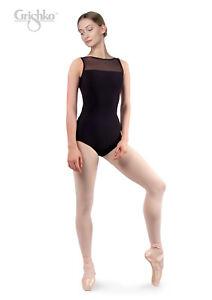a3ec3c27763f GRISHKO Ladies Dance Leotard Mesh Front Neckline Low Mesh Back ...