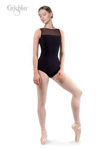 Grishko Femmes Danse Justaucorps Maille Avant Décolleté Bas maille dos en microfibre noir