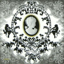 4x Single Table Party Paper Napkins for Decoupage Decopatch Cameo Black / White