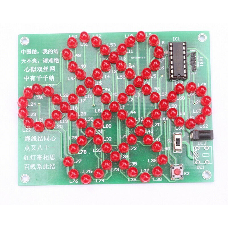 2Pcs DIY Kit Red Chinese Knot Analog Electronic Suite Creative Practice DIY