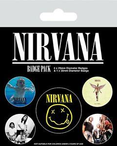 Officiel-Nirvana-Kurt-Cobain-Iconique-Badge-Paquet-de-5-Nouveaute-Licence-Smiley
