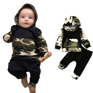 2daa10f55e6e7 Toddler Infant Baby Boy Cool Clothes Sets Camouflage Hooded Tops+ ...