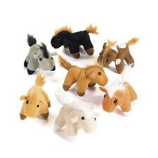 "12 Plush 3"" Pony Horses Stallion Western Cowboy Cowgirl Party Favor Buckaroo"