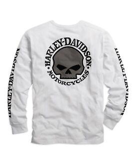 Harley-Davidson-Men-039-s-Skull-Long-Sleeve-Tee-White-Gr-S-Herren-Shirt-Weiss