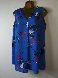 New-no-tags-George-12-14-blue-mix-V-neck-sleeveless-silky-crepe-smart-blouse-top