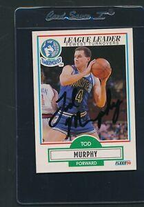 1990/91 Fleer #115 Tod Murphy Timberwolves Signed Auto *E277