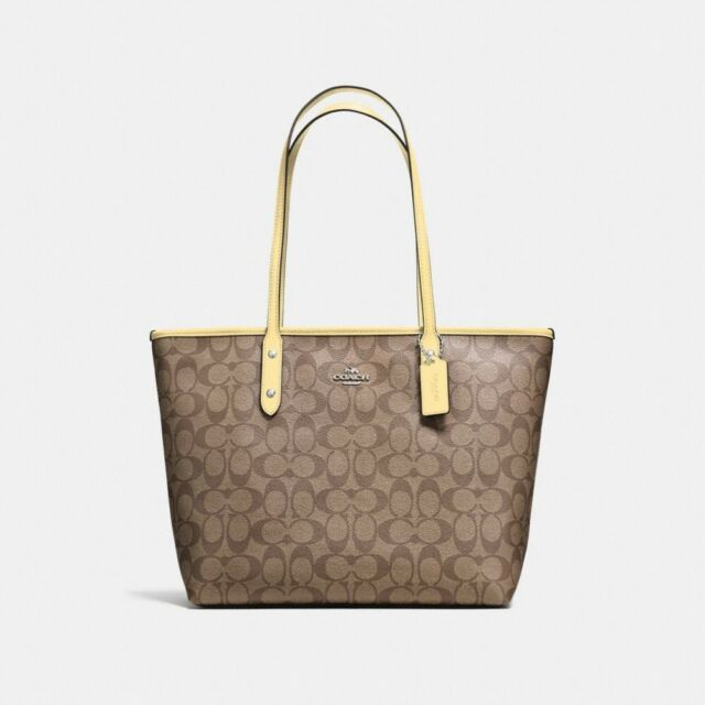 New Coach F58292 Signature City Zip Tote Handbag Purse Shoulder Bag Chalk White