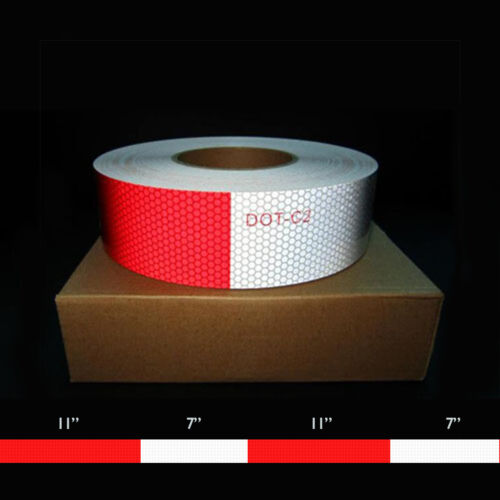 """7/"""" White 10 Year 2/"""" x 150/' DOT c-2 Reflective Conspicuity Tape 11/"""" Red"""