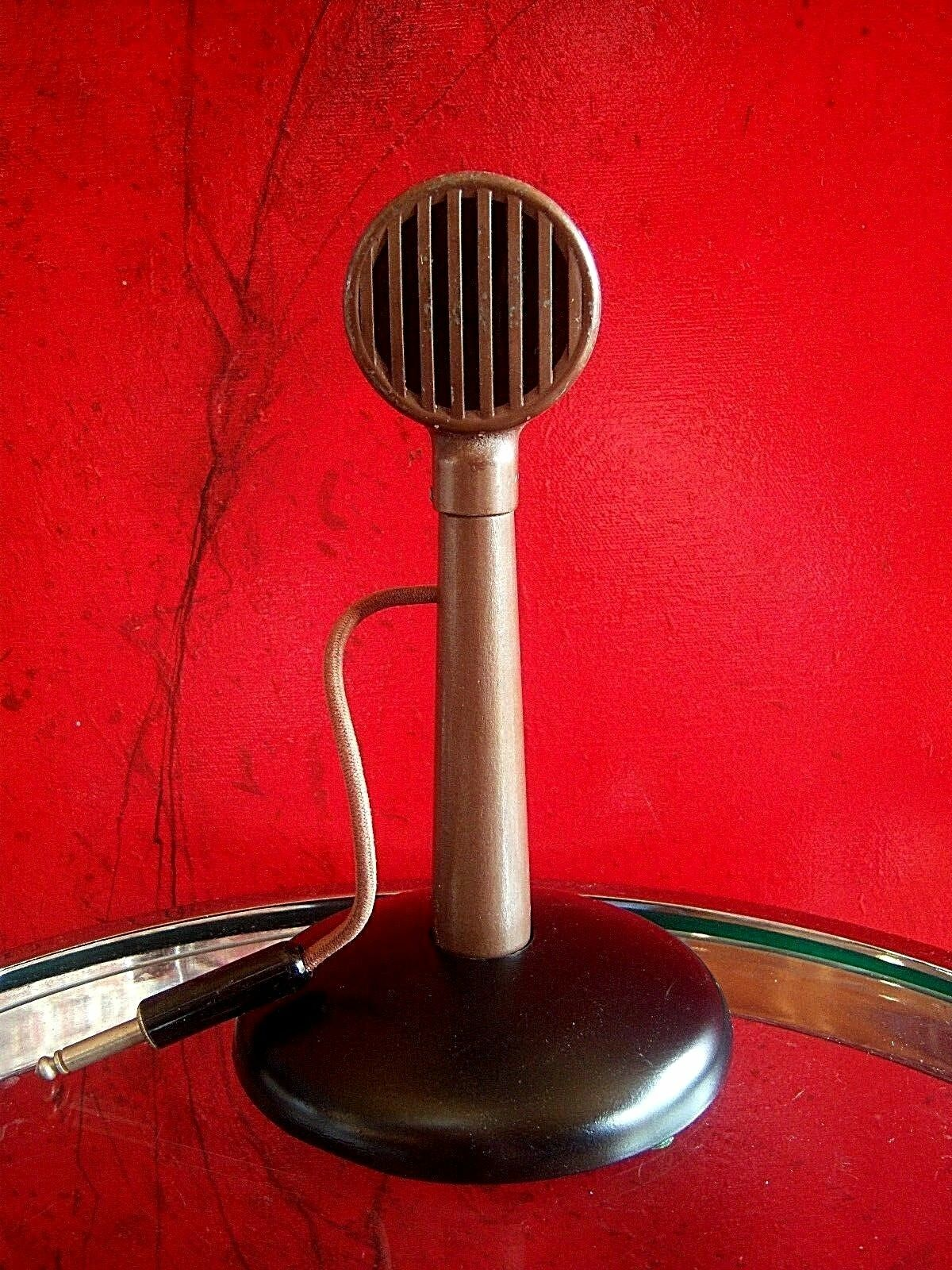 Vintage RARE 1930's Astatic X-20 crystal microphone old antique deco w stand