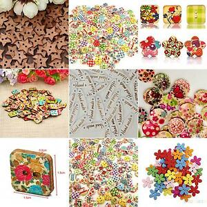 Details about 100x Star Heart Flower 2 Holes Wood Sewing Craft Scrapbooking  DIY Buttons Sale