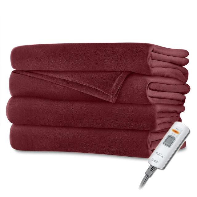 Sunbeam Velvet Plush Electric Heated Throw Blanket Garnet Red