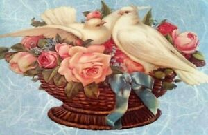 Unused-Victorian-WEDDING-Marriage-Greeting-Card-White-Doves-Flowers-Congrats