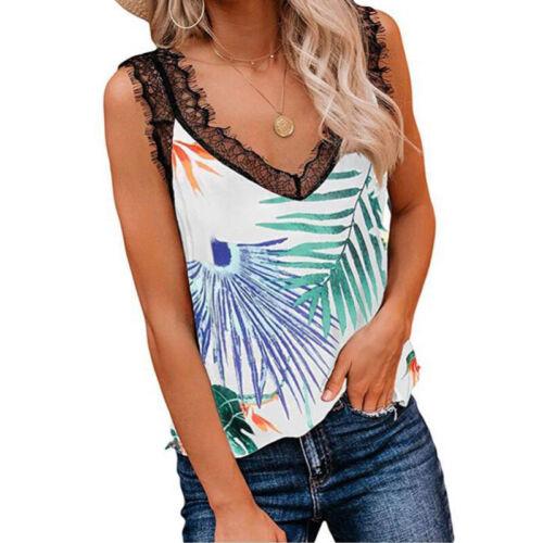 Damen Blumen V-Ausschnitt mit Spitze T shirt Longshirt Sommer Longtop Tank Top