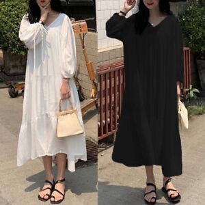 Jolie-Femme-Robe-Couture-Decontracte-lache-Dresse-Col-V-Loisir-Manche-Longue