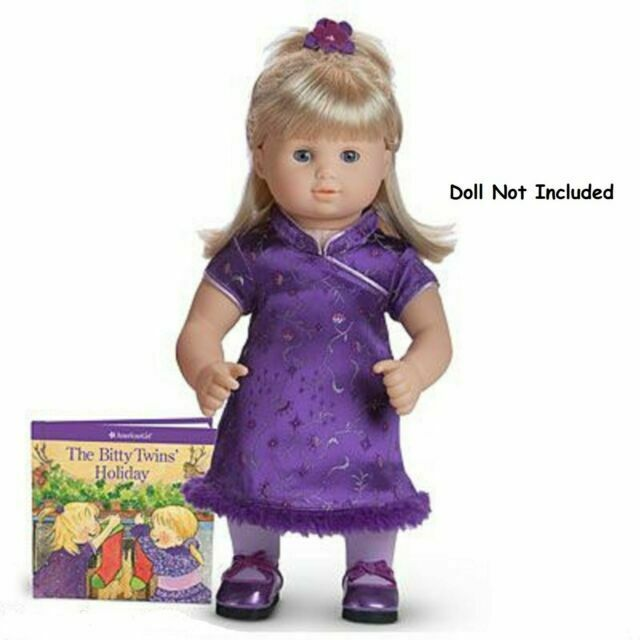 New American Girl Bitty Baby Purple Polka Dot Holiday Party Dress~Shoes~clothes