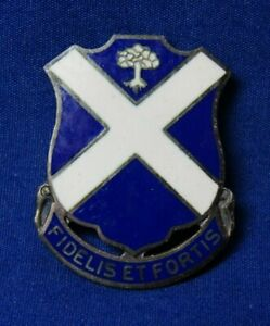 WWII-Sterling-113th-Infanterie-Regiment-Fidelis-Et-Fortis-Di-Unit-Crest-Pin-Nice