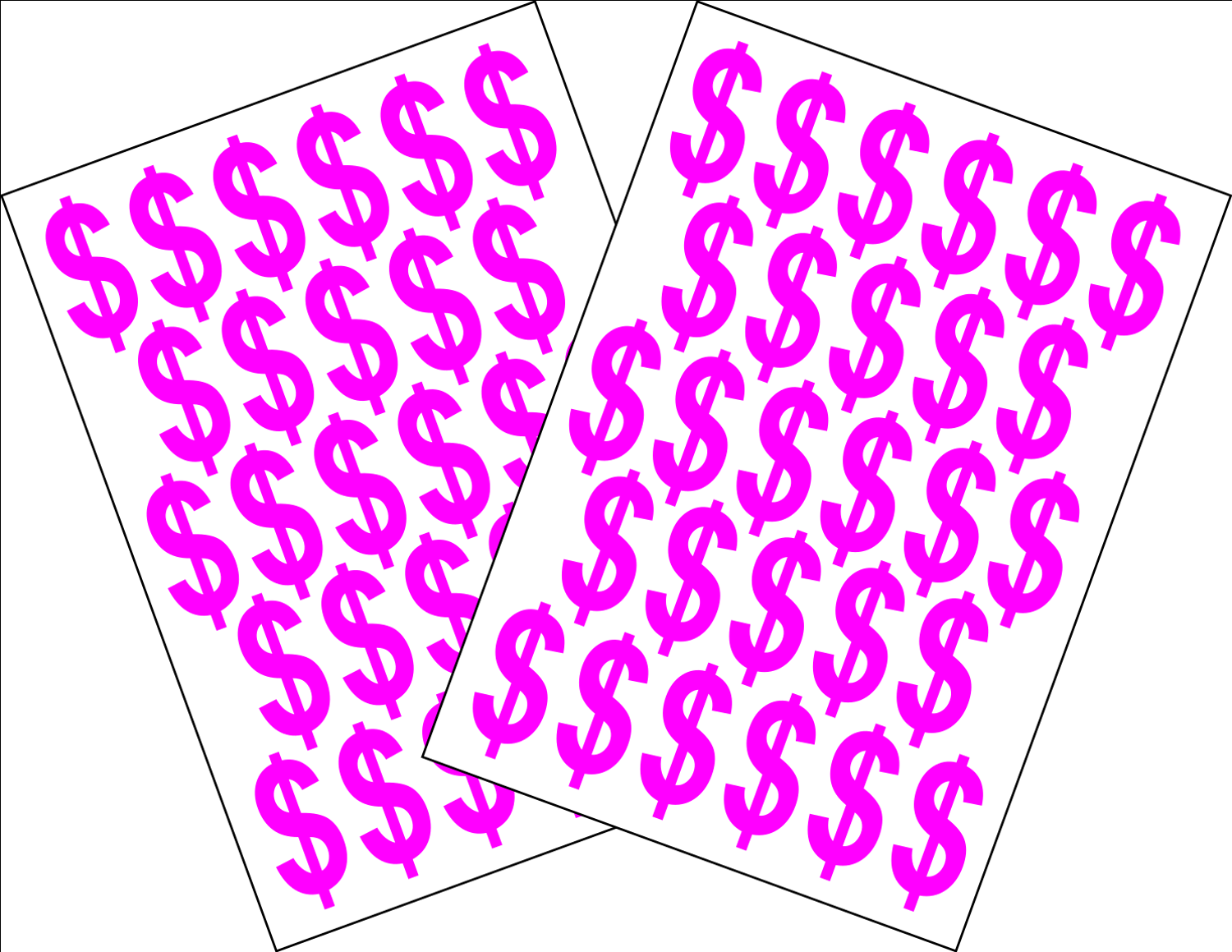 Dollar Sign Currency Stickers Peel Off 2 x A5 Self Adhesive Prices 3.5CM