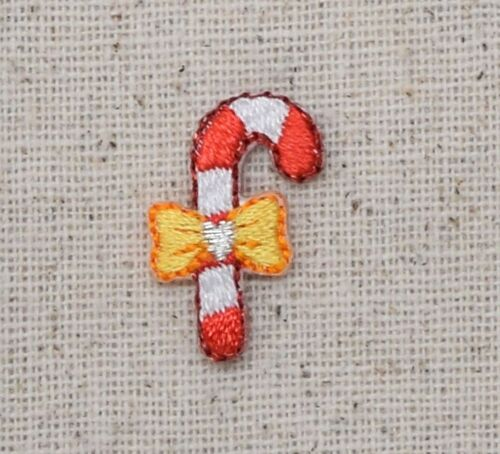 Small//Mini Candy Cane Yellow Bow//Christmas Iron on Applique//Embroidered Patch