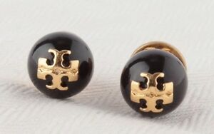 0cda360a0bc AUTHENTIC TORY BURCH  EVIE  BLACK CRYSTAL PEARL LOGO STUD EARRINGS ...