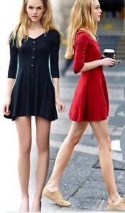 Women-Ladies-3-4-Sleeve-Jersey-Skater-Mini-Dress-Basic-V-neck-Top