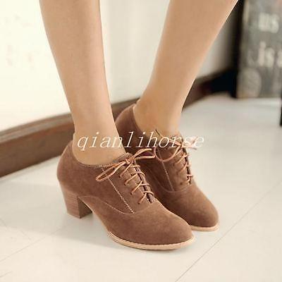 Women's Faux Suede Round Toe Lace Up Block Heels Oxfords Brouge Shoes Plus Size