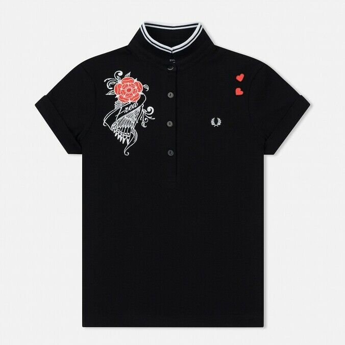 Frot Perry Amy Winehouse Embroiderot Pique schwarz woman polo SS