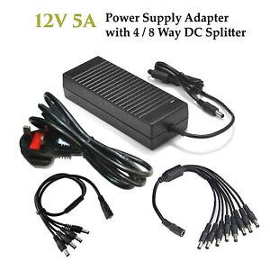 AC-DC 12V 5A Power Supply Adapter CCTV PSU for LED LCD CCTV Camera DVR UK Plug