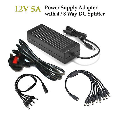 1 to 8 Way Cable 2//4//6//8 Way CCTV DC Power Splitter Adapter 2.1mm 12V 9V PSU