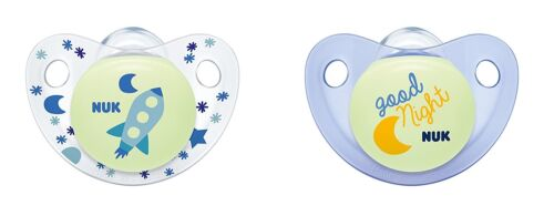 "NUK Night /& Day /""Glow in the Dark/"" Silicone Soother Dummy 0-6 Months Blue 2PK"