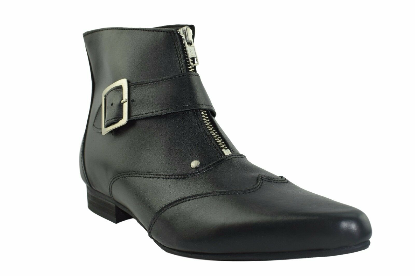 Steel Ground Black Leather Winklepicker Boots Buckle Pointed Ankle Boot Sb004Z92