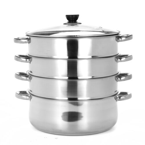 4tier steamer cooker Steam pot set Stainless Steel Kitchen cookware 32cm Hot Pot