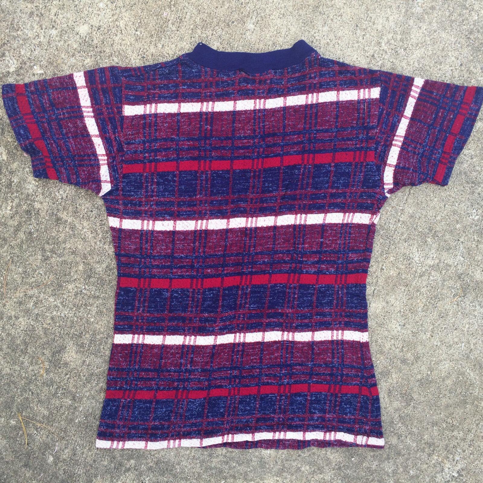 Rare Knit Vintage 1950's 60s Surf Stripe Blank T … - image 6