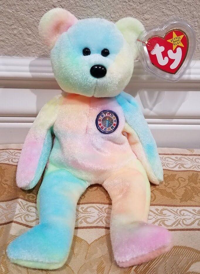 RARE Ty Beanie Baby - Birthday  B.B. Bear  Unmarked - MWMT w Tag Predector
