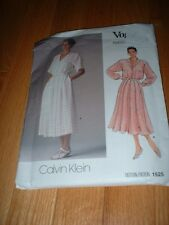 VOGUE PATTERN 1525 ~ CALVIN KLEIN ~ LOOSE FITTING SHIRT DRESS ~ SZ 10 ~ NEW