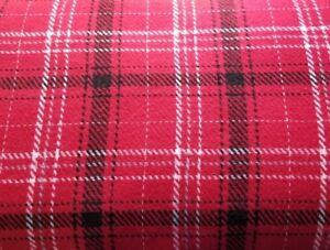 Details about Red Woolen Plaid w/ Black, White, Pale Blue -So Soft & Cozy!!  Designer Overstock