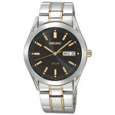 Seiko Men's Solar SNE047 Dress Stainless Steel Two-Tone Black Dial Watch