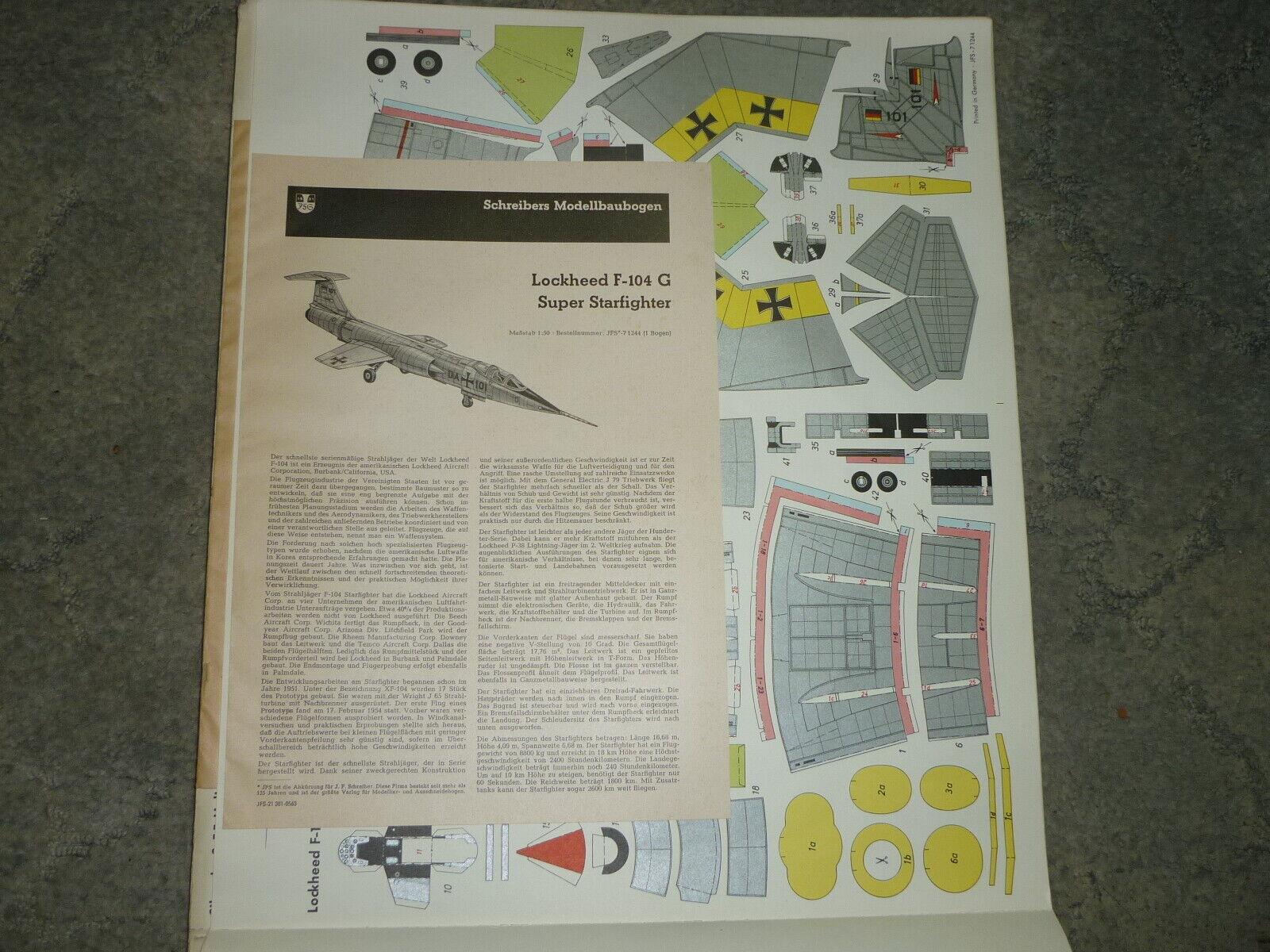 Schreibers MeisterModellll  Lockhead F-104 G Super Sternfigther neu 50- 60er jahre