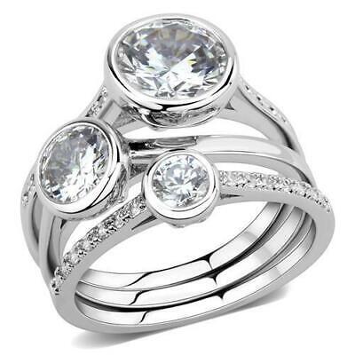 974 BEZEL WEDDING BAND ENGAGEMENT SIMULATED DIAMOND RING SET STAINLESS STEEL