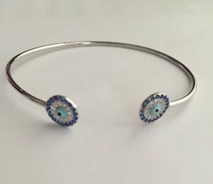 925-Sterling-Silver-CZ-Crystals-Hamsa-Evil-Eye-Cuff-Bangle-Bracelet