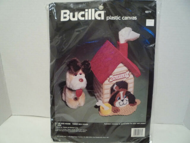 """Vintage Bucilla:Plastic Canvas Kit """"In The Dog House """" Tissue Box Cover NEW 1991"""