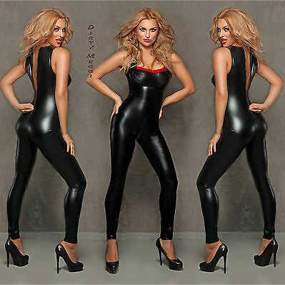 Catsuit Overall fetisch S M 36 38 Lack Latex Leder Wet Look Domina Clubwear
